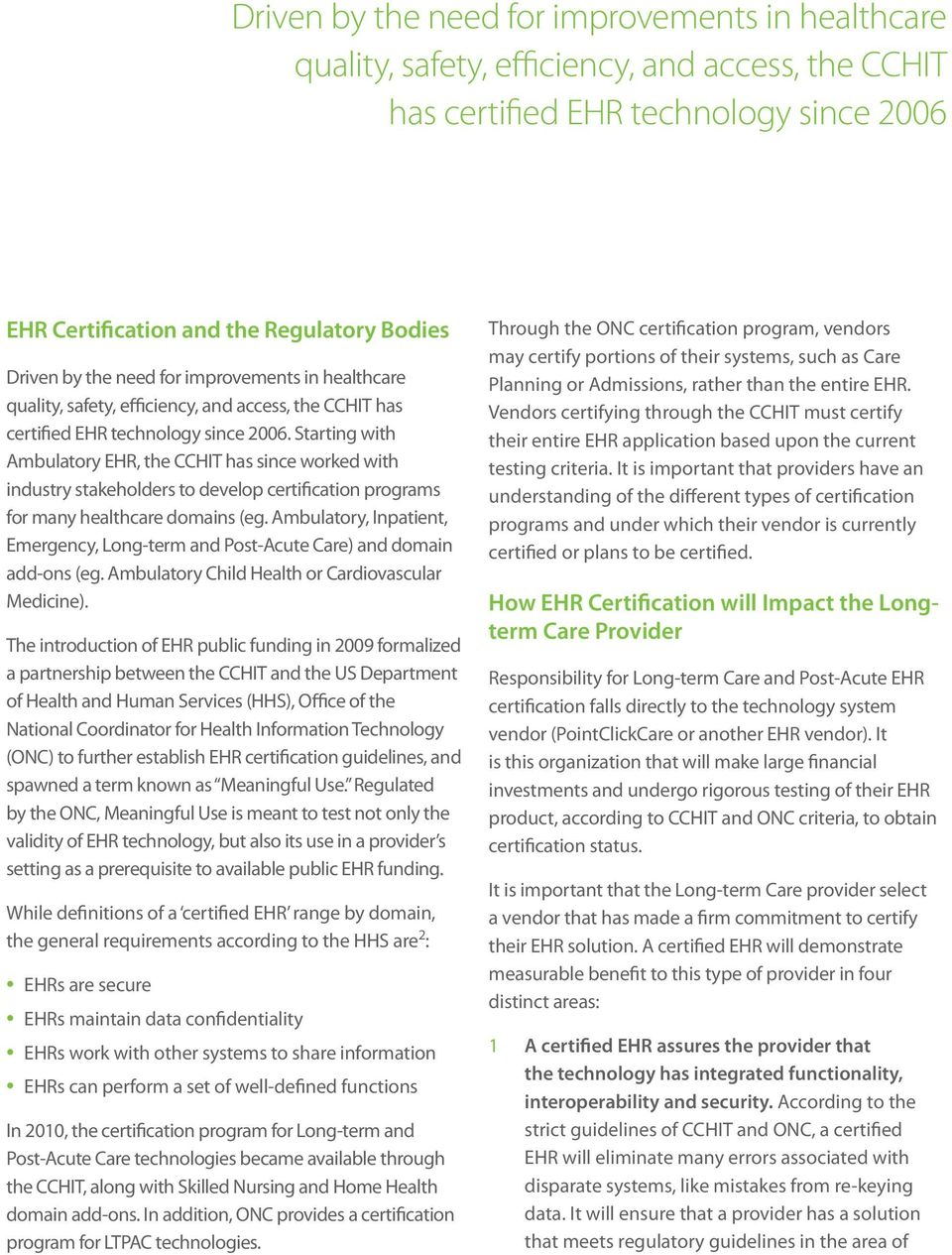 Ehr Certification The Impact On The Long Term Care Industry