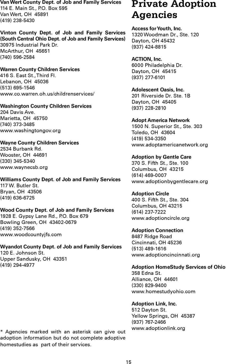us/childrenservices/ Washington County Children Services 204 Davis Ave. Marietta, OH 45750 (740) 373-3485 www.washingtongov.org Wayne County Children Services 2534 Burbank Rd.