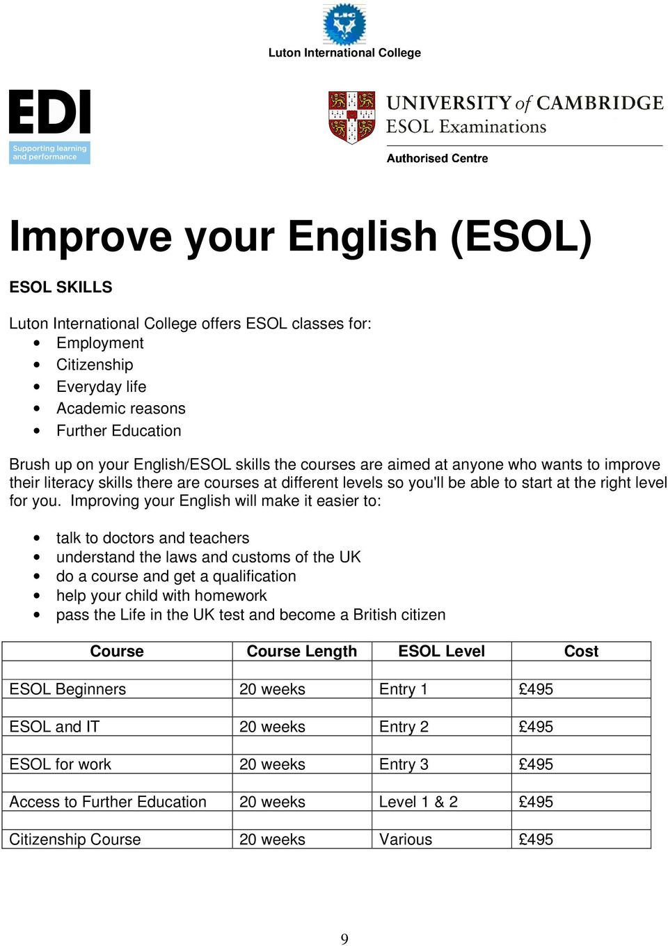 Improving your English will make it easier to: talk to doctors and teachers understand the laws and customs of the UK do a course and get a qualification help your child with homework pass the Life