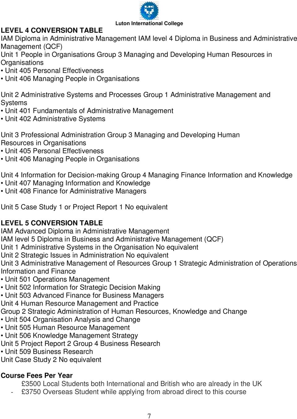 Unit 401 Fundamentals of Administrative Management Unit 402 Administrative Systems Unit 3 Professional Administration Group 3 Managing and Developing Human Resources in Organisations Unit 405