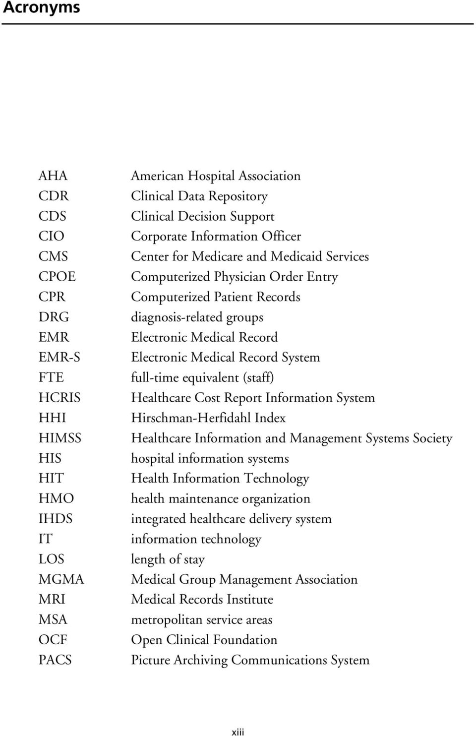 Medical Record System full-time equivalent (staff) Healthcare Cost Report Information System Hirschman-Herfidahl Index Healthcare Information and Management Systems Society hospital information