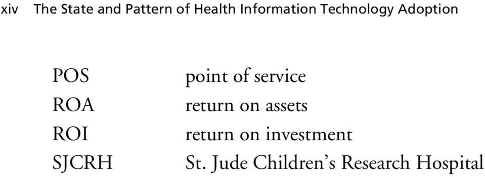 SJCRH point of service return on assets