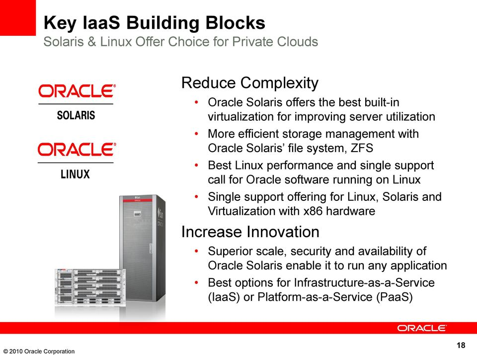 Oracle software running on Linux Single support offering for Linux, Solaris and Virtualization with x86 hardware Increase Innovation Superior scale,