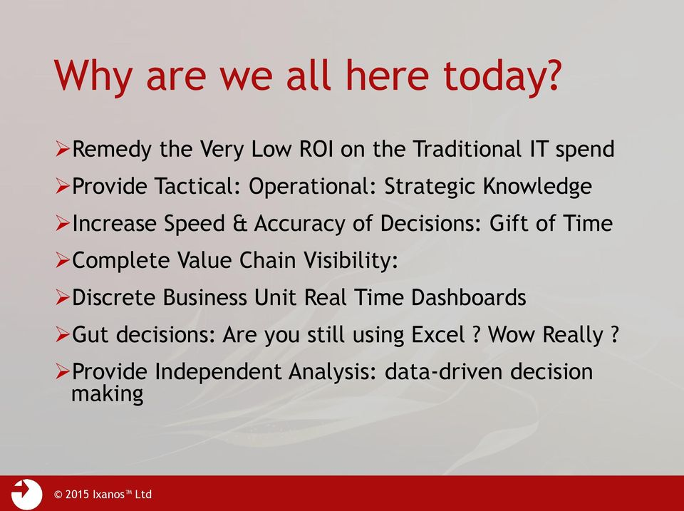 Knowledge Increase Speed & Accuracy of Decisions: Gift of Time Complete Value Chain