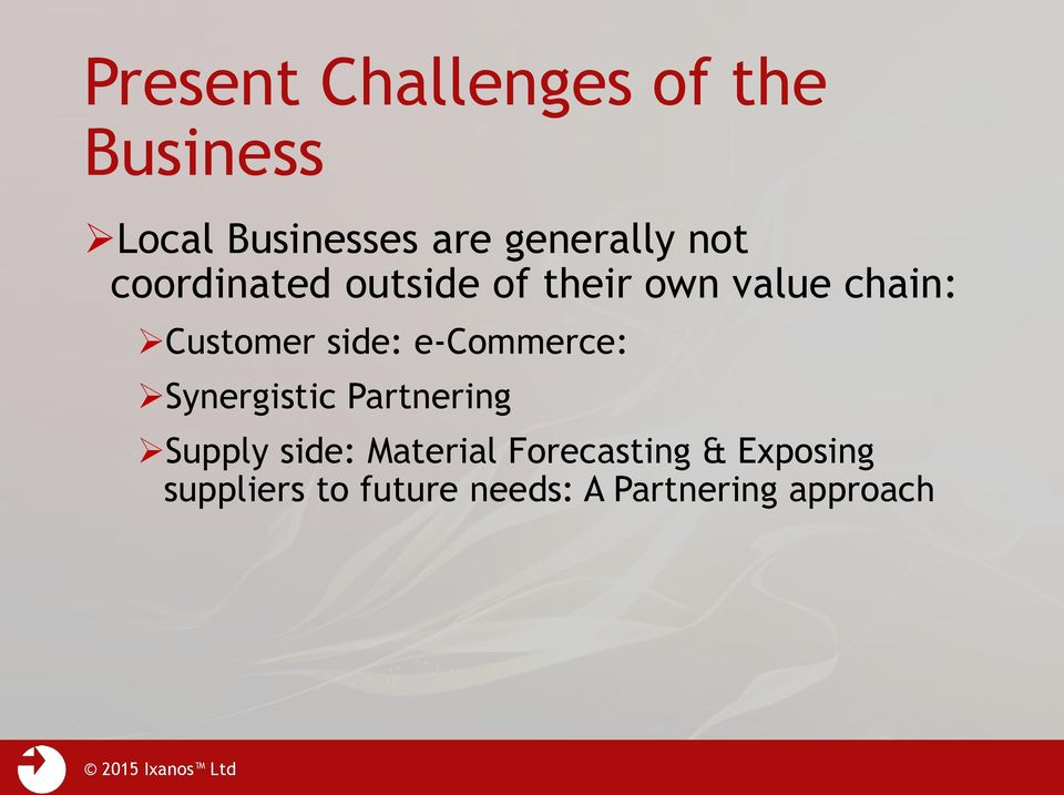 Customer side: e-commerce: Synergistic Partnering Supply side: