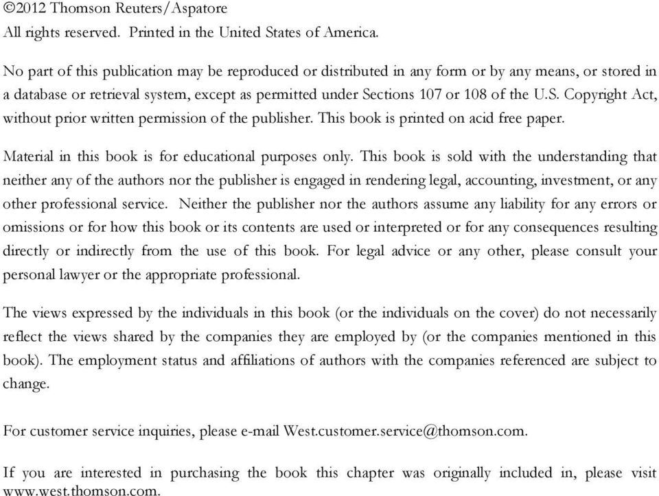 ctions 107 or 108 of the U.S. Copyright Act, without prior written permission of the publisher. This book is printed on acid free paper. Material in this book is for educational purposes only.