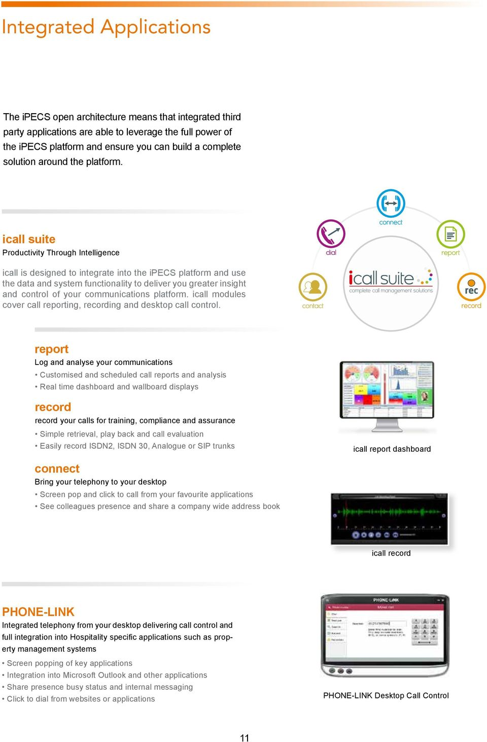 icall suite Productivity Through Intelligence icall is designed to integrate into the ipecs platform and use the data and system functionality to deliver you greater insight and control of your