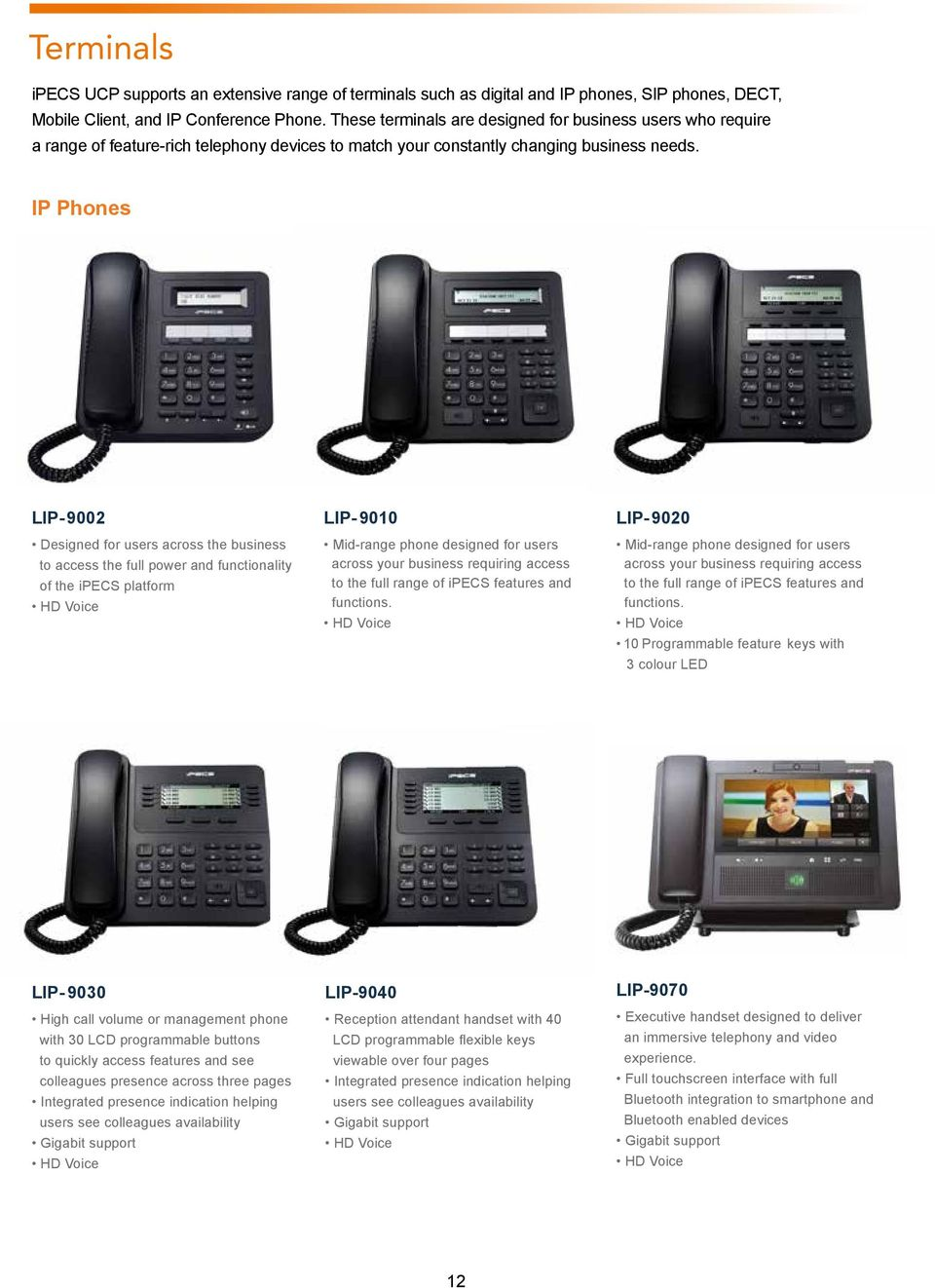IP Phones LIP-9002 Designed for users across the business to access the full power and functionality of the ipecs platform HD Voice LIP-9010 Mid-range phone designed for users across your business