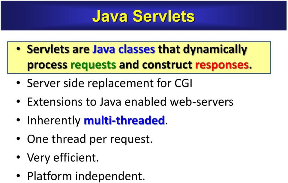 Server side replacement for CGI Extensions to Java enabled