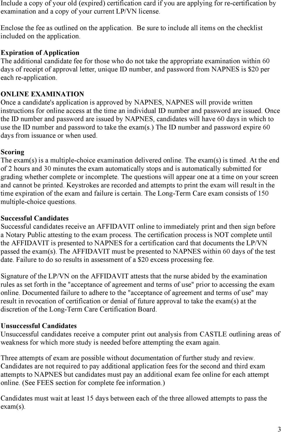 Napnes certification in long term care pdf expiration of application the additional candidate fee for those who do not take the appropriate examination 1betcityfo Images