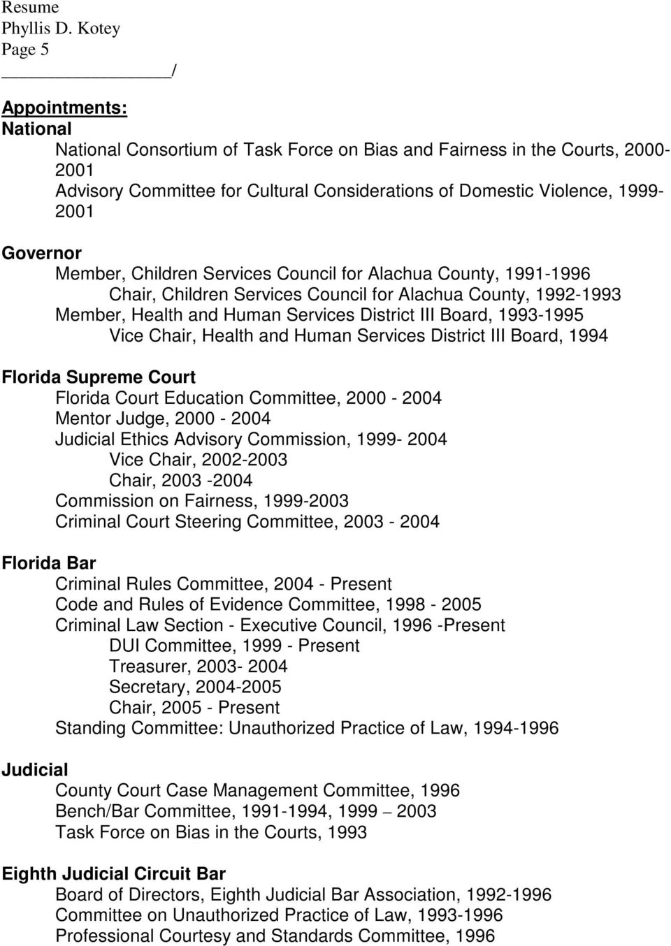 Chair, Health and Human Services District III Board, 1994 Florida Supreme Court Florida Court Education Committee, 2000-2004 Mentor Judge, 2000-2004 Judicial Ethics Advisory Commission, 1999-2004