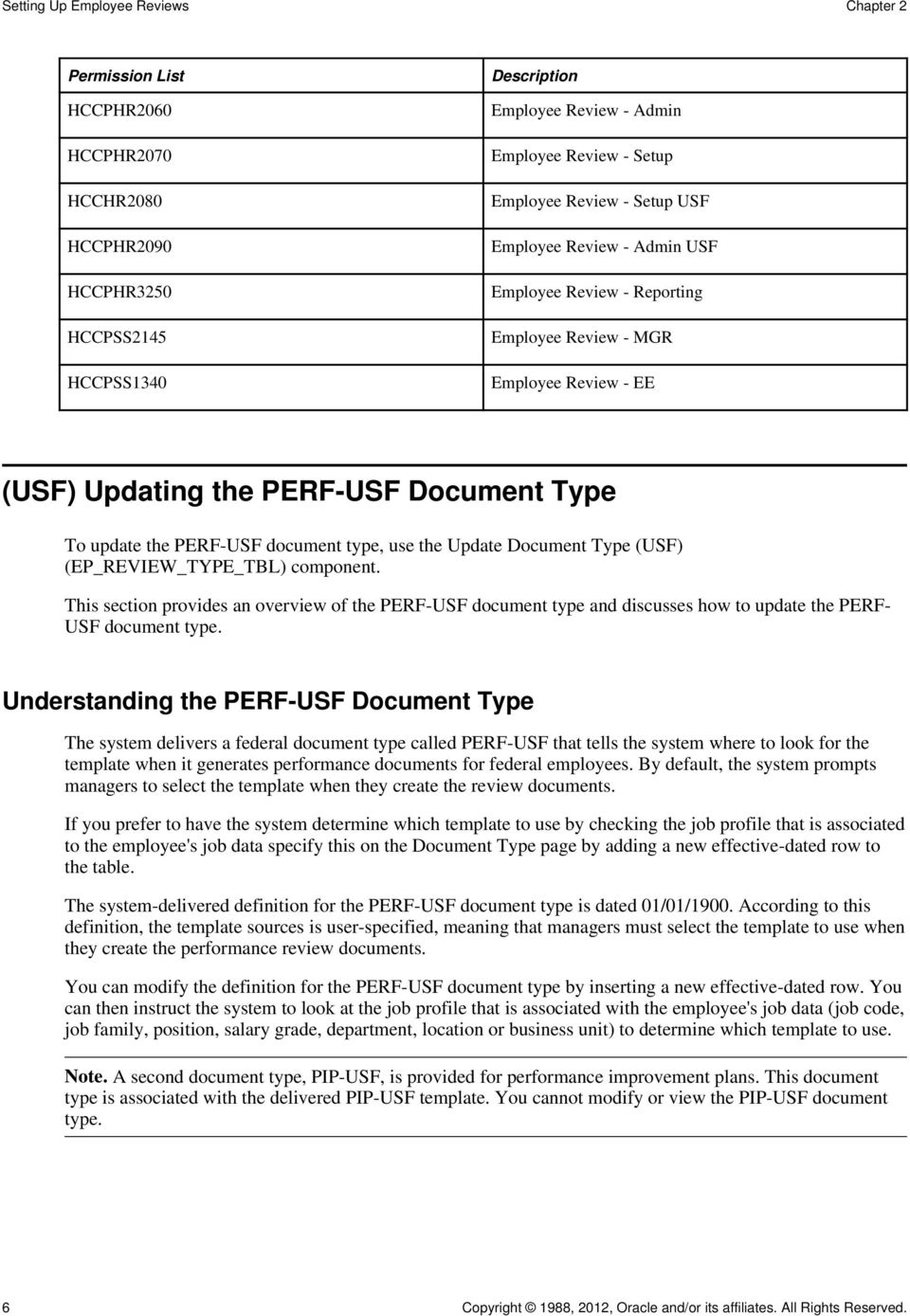 use the Update Document Type (USF) (EP_REVIEW_TYPE_TBL) component. This section provides an overview of the PERF-USF document type and discusses how to update the PERF- USF document type.