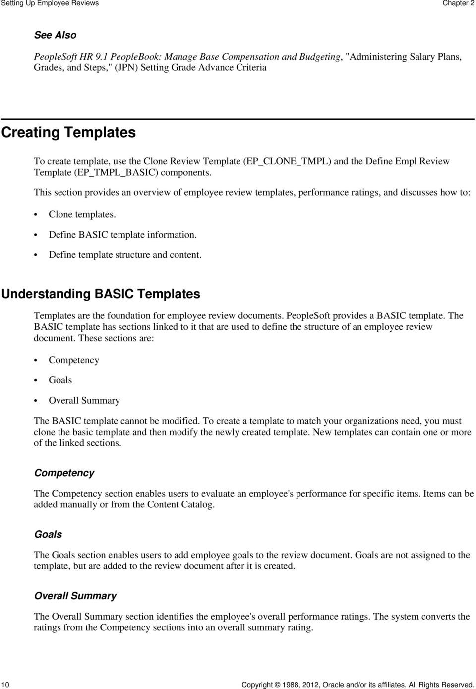 Template (EP_CLONE_TMPL) and the Define Empl Review Template (EP_TMPL_BASIC) components.
