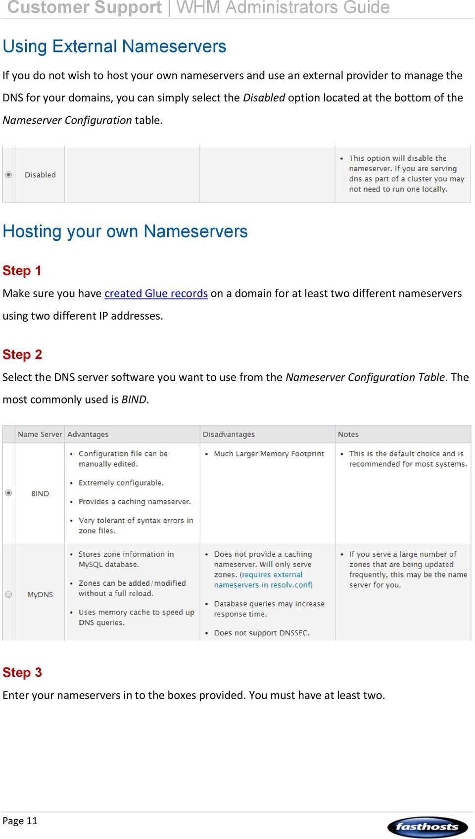 Hosting your own Nameservers Make sure you have created Glue records on a domain for at least two different nameservers using two different IP addresses.
