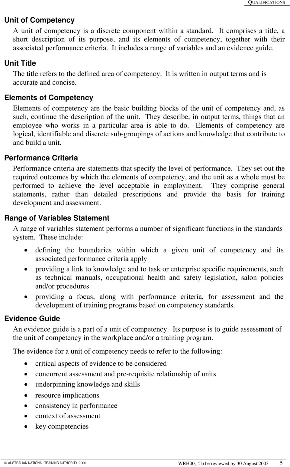 Unit Title The title refers to the defined area of competency. It is written in output terms and is accurate and concise.