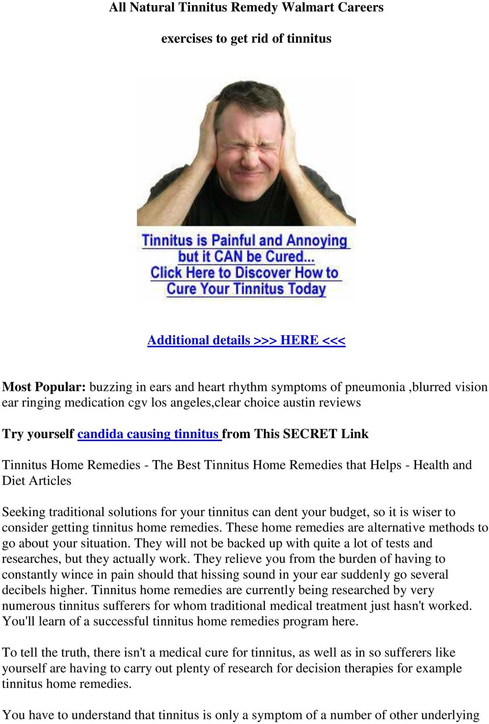 All Natural Tinnitus Remedy Walmart Careers  exercises to get rid of