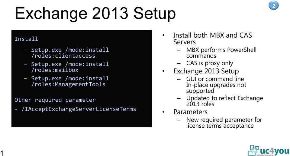 and CAS Servers MBX performs PowerShell commands CAS is proxy only Exchange 2013 Setup GUI or command line In-place