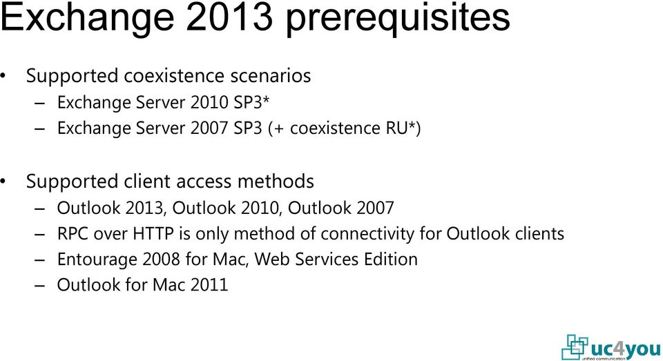 Outlook 2013, Outlook 2010, Outlook 2007 RPC over HTTP is only method of