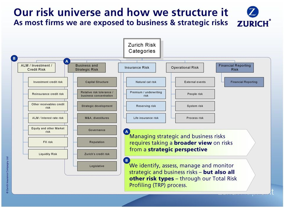 concentration Premium / underwriting risk People risk Other receivables credit risk Strategic development Reserving risk System risk ALM / Interest rate risk M&A, divestitures Life insurance risk