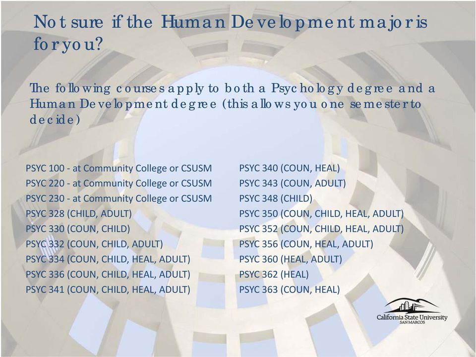 at Community College or CSUSM PSYC 230 at Community College or CSUSM PSYC 328 (CHILD, ADULT) PSYC 330 (COUN, CHILD) PSYC 332 (COUN, CHILD, ADULT) PSYC 334 (COUN, CHILD, HEAL,