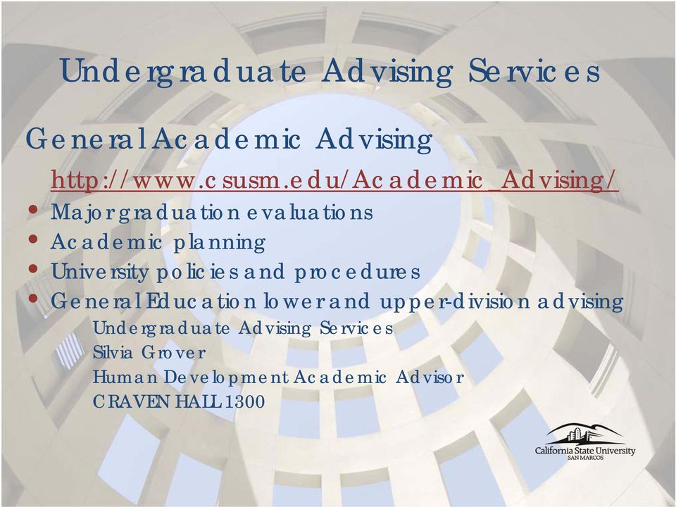 policies and procedures General Education lower and upper-division advising