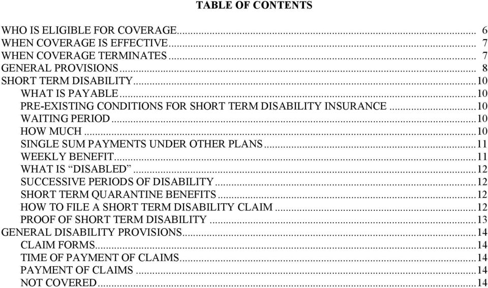 ..11 WEEKLY BENEFIT...11 WHAT IS DISABLED...12 SUCCESSIVE PERIODS OF DISABILITY...12 SHORT TERM QUARANTINE BENEFITS...12 HOW TO FILE A SHORT TERM DISABILITY CLAIM.