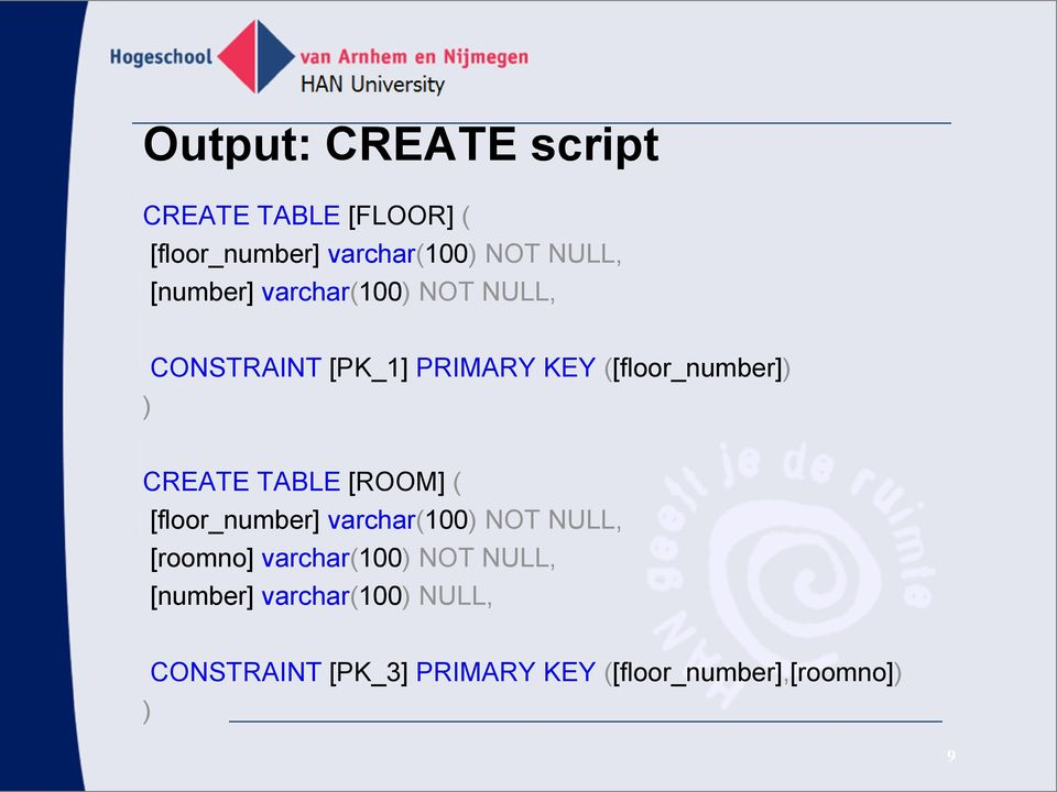 CREATE TABLE [ROOM] ( [floor_number] varchar(100) NOT NULL, [roomno] varchar(100) NOT