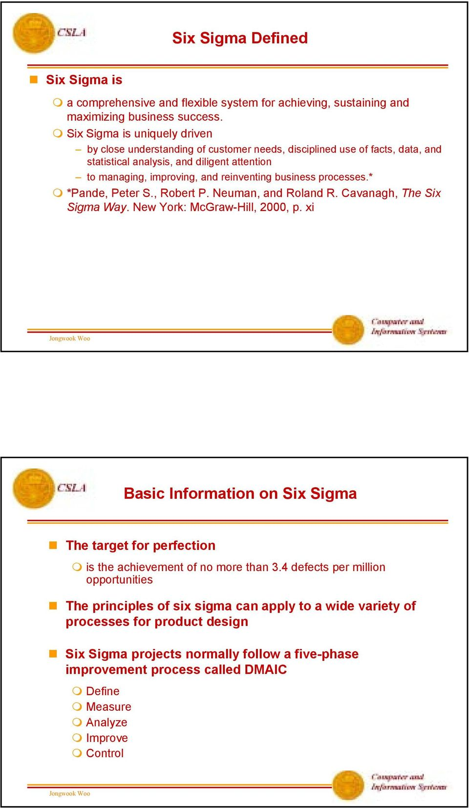 business processes.* *Pande, Peter S., Robert P. Neuman, and Roland R. Cavanagh, The Six Sigma Way. New York: McGraw-Hill, 2000, p.