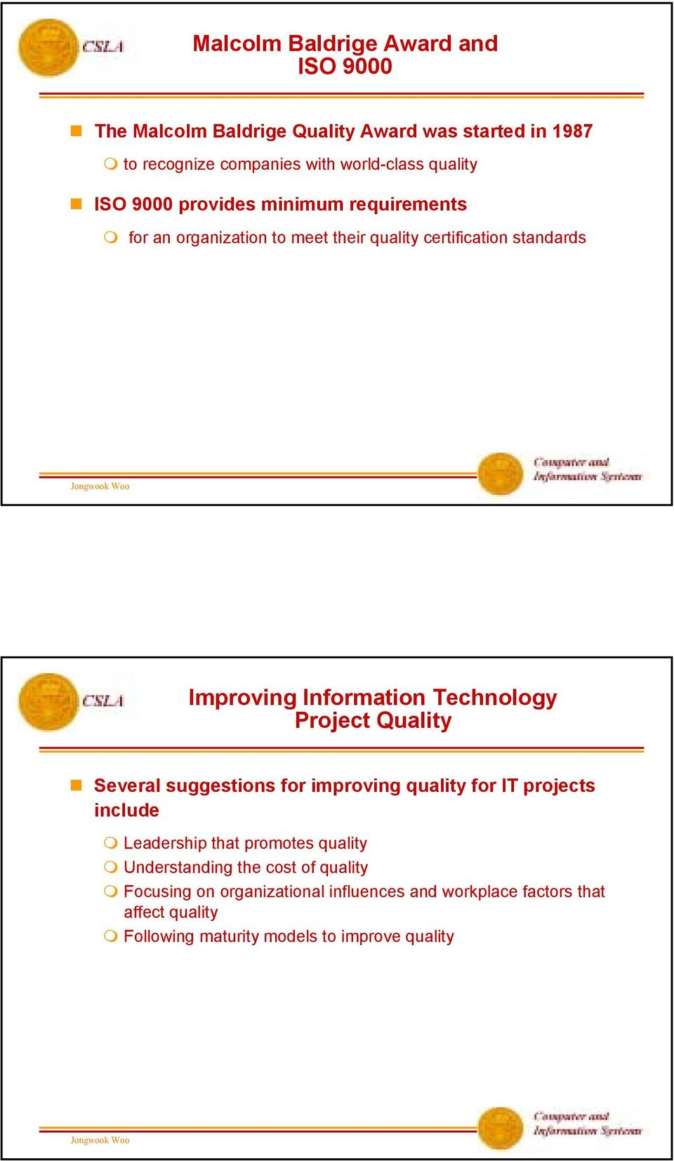 Technology Project Quality Several suggestions for improving quality for IT projects include Leadership that promotes quality