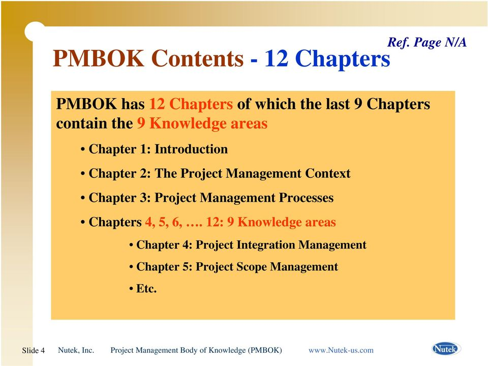 Management Context Chapter 3: Project Management Processes Chapters 4, 5, 6,.