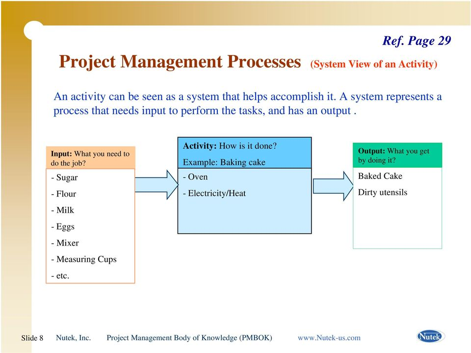 A system represents a process that needs input to perform the tasks, and has an output.