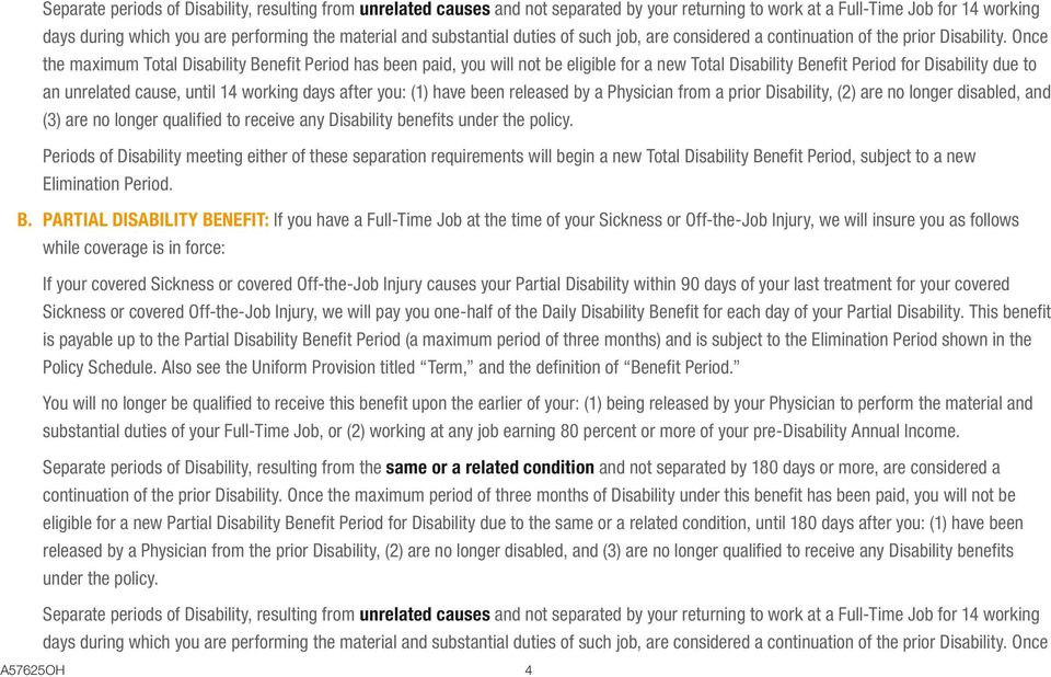 Once the maximum Total Disability Benefit Period has been paid, you will not be eligible for a new Total Disability Benefit Period for Disability due to an unrelated cause, until 14 working days