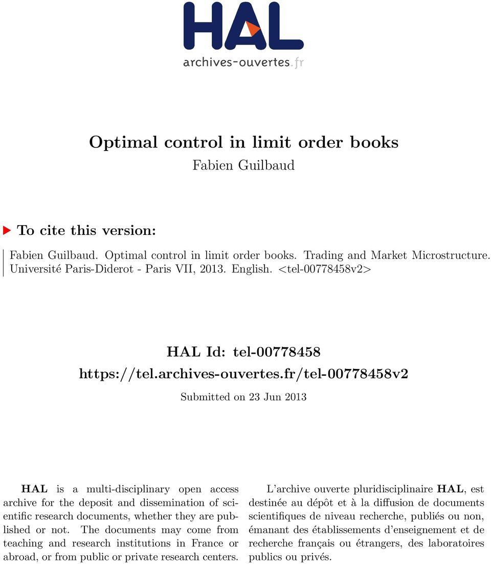 fr/tel-00778458v2 Submitted on 23 Jun 2013 HAL is a multi-disciplinary open access archive for the deposit and dissemination of scientific research documents, whether they are published or not.