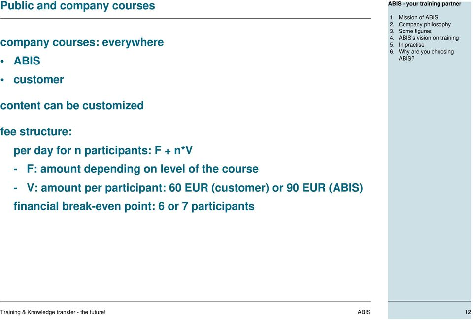 content can be customized fee structure: per day for n participants: F + n*v - F: amount depending on level of the course - V: