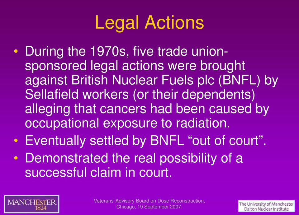 alleging that cancers had been caused by occupational exposure to radiation.