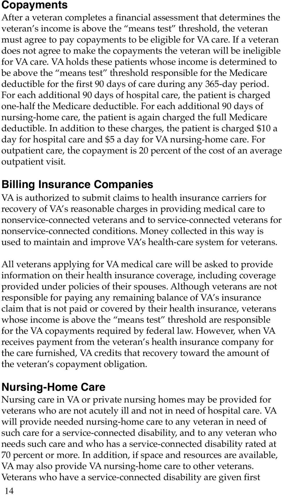 VA holds these patients whose income is determined to be above the means test threshold responsible for the Medicare deductible for the first 90 days of care during any 365-day period.