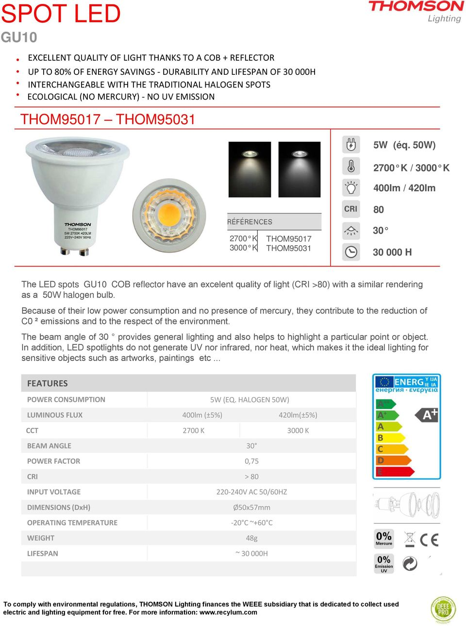 Table Of Contents Thomson Values Lighting Product Led Driver Powers Halogen Replacement 50w 2700 K 3000 400lm 420lm 80 30 000 H The