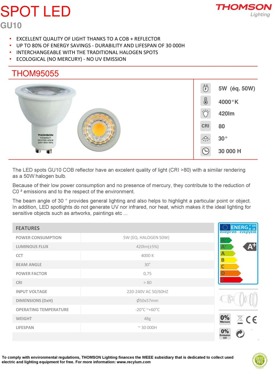 Table Of Contents Thomson Values Lighting Product Led Driver Powers Halogen Replacement 50w 4000 K 420lm 80 30 000 H The Spots Gu10 Cob Reflector