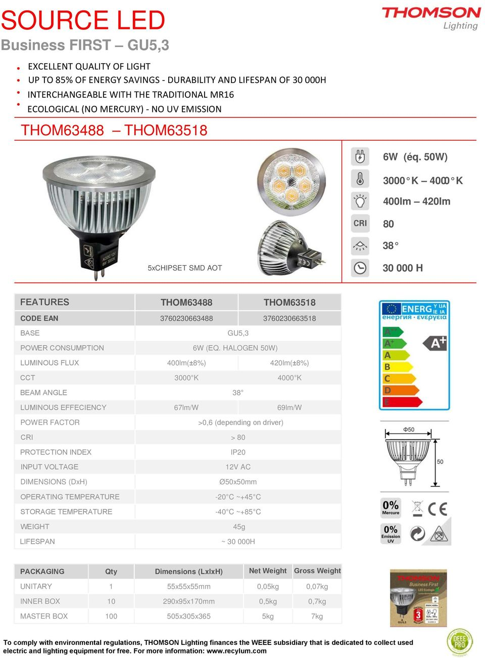 Table Of Contents Thomson Values Lighting Product Led Driver Powers Halogen Replacement 50w 3000 K 4000 400lm 420lm 80 38 5xchipset Smd Aot 30 000 H