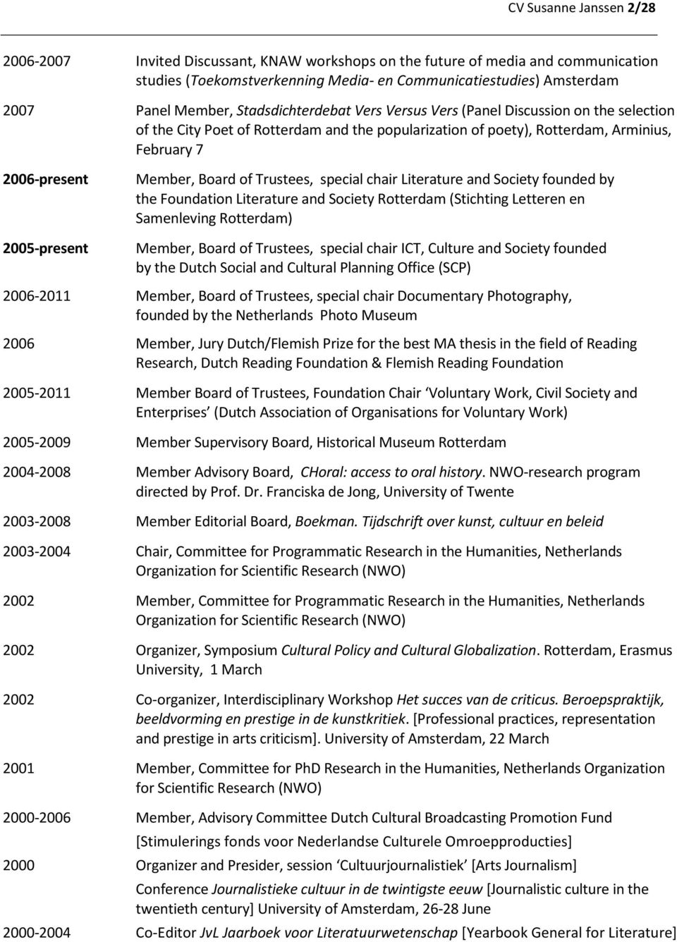 Trustees, special chair Literature and Society founded by the Foundation Literature and Society Rotterdam (Stichting Letteren en Samenleving Rotterdam) 2005-present Member, Board of Trustees, special