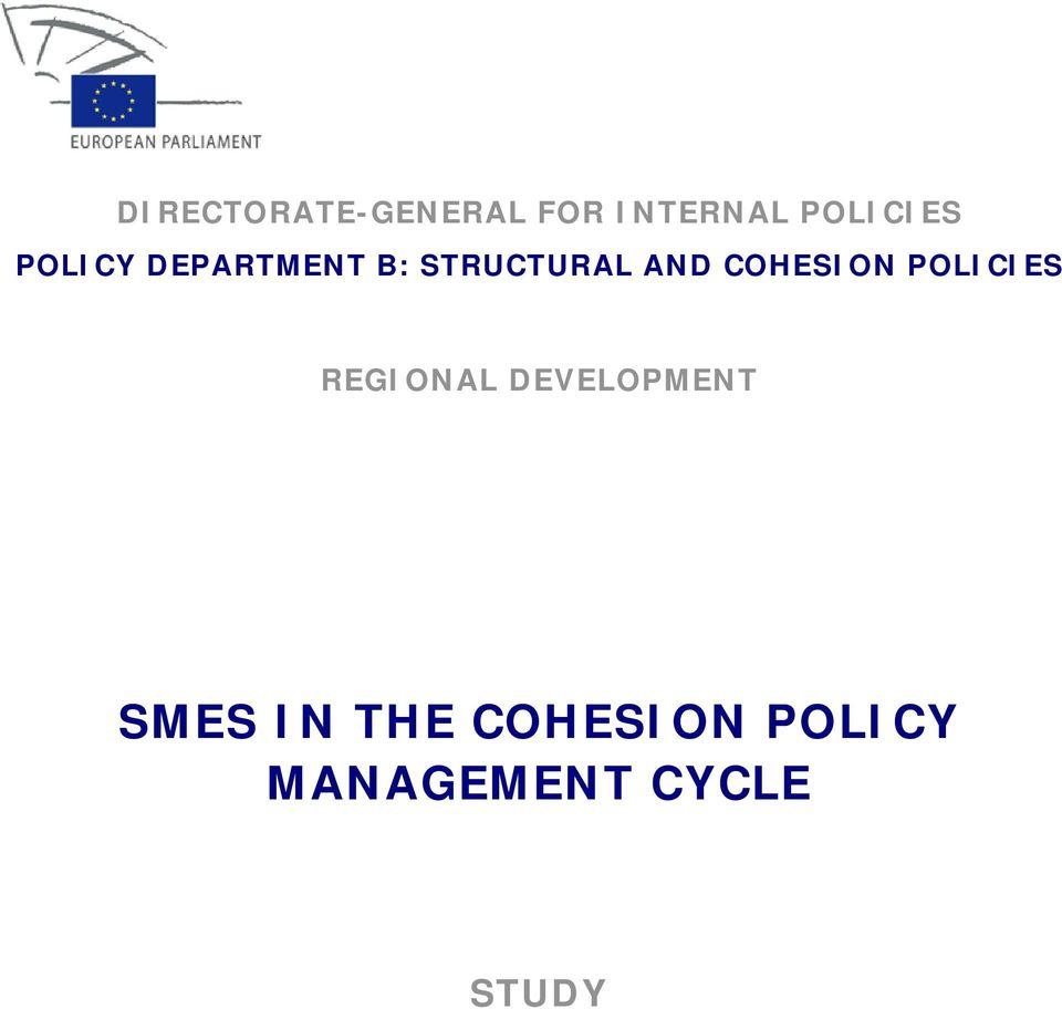 COHESION POLICIES REGIONAL DEVELOPMENT