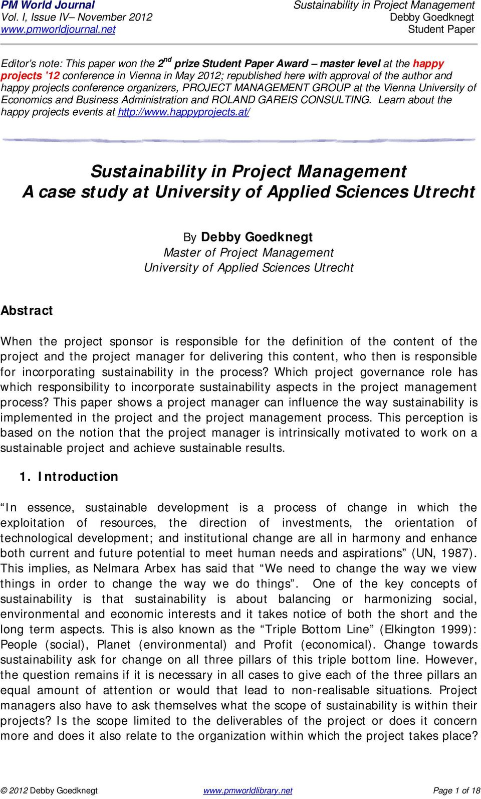 at/ A case study at University of Applied Sciences Utrecht By Master of Project Management University of Applied Sciences Utrecht Abstract When the project sponsor is responsible for the definition