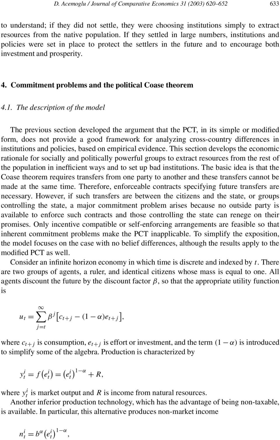 Commitment problems and the political Coase theorem 4.1.