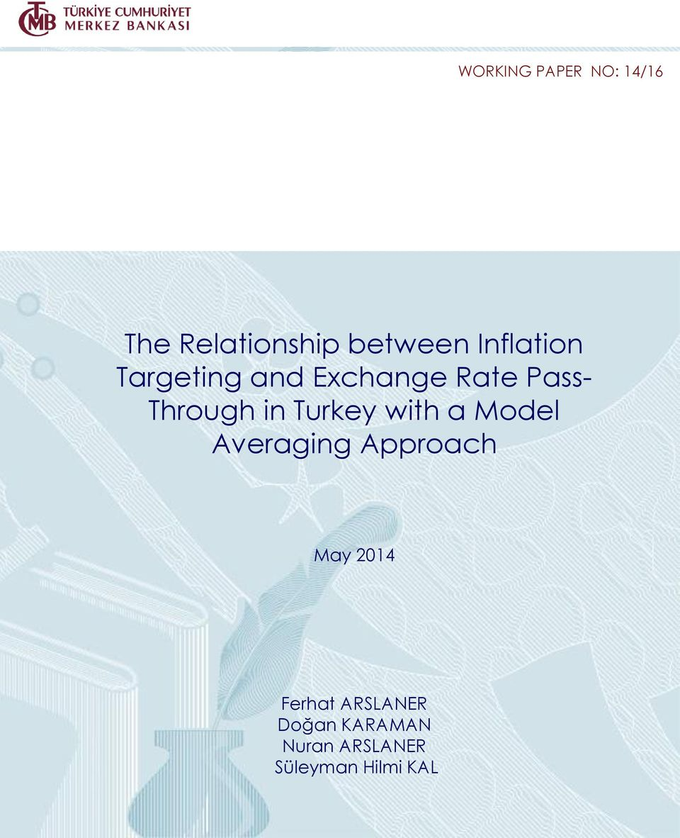in Turkey with a Model Averaging Approach May 2014