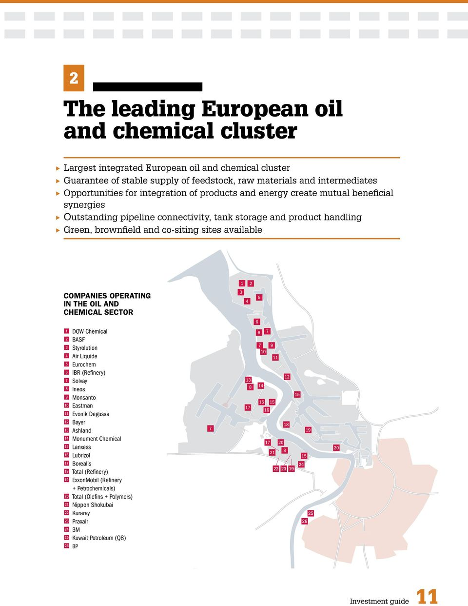 OPERATING IN THE OIL AND CHEMICAL SECTOR 1 DOW Chemical 2 BASF 3 Styrolution 4 Air Liquide 5 Eurochem 6 IBR (Refinery) 7 Solvay 8 Ineos 9 Monsanto A Eastman B Evonik Degussa C Bayer D Ashland E