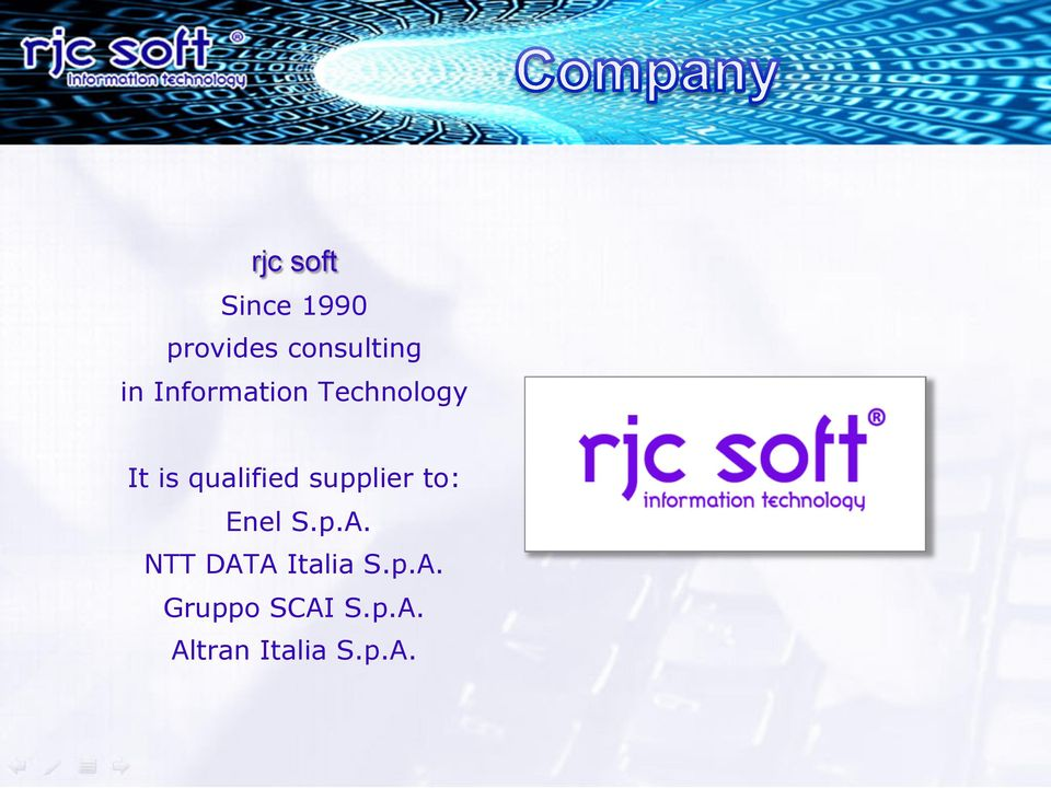 supplier to: Enel S.p.A. NTT DATA Italia S.