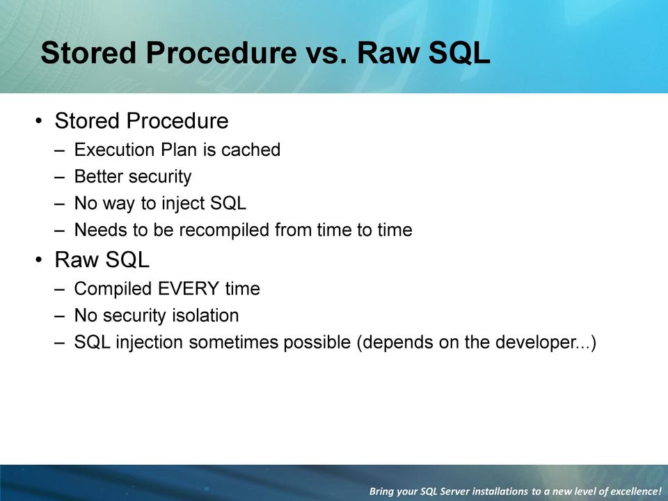 No way to inject SQL Needs to be recompiled from time to time Raw