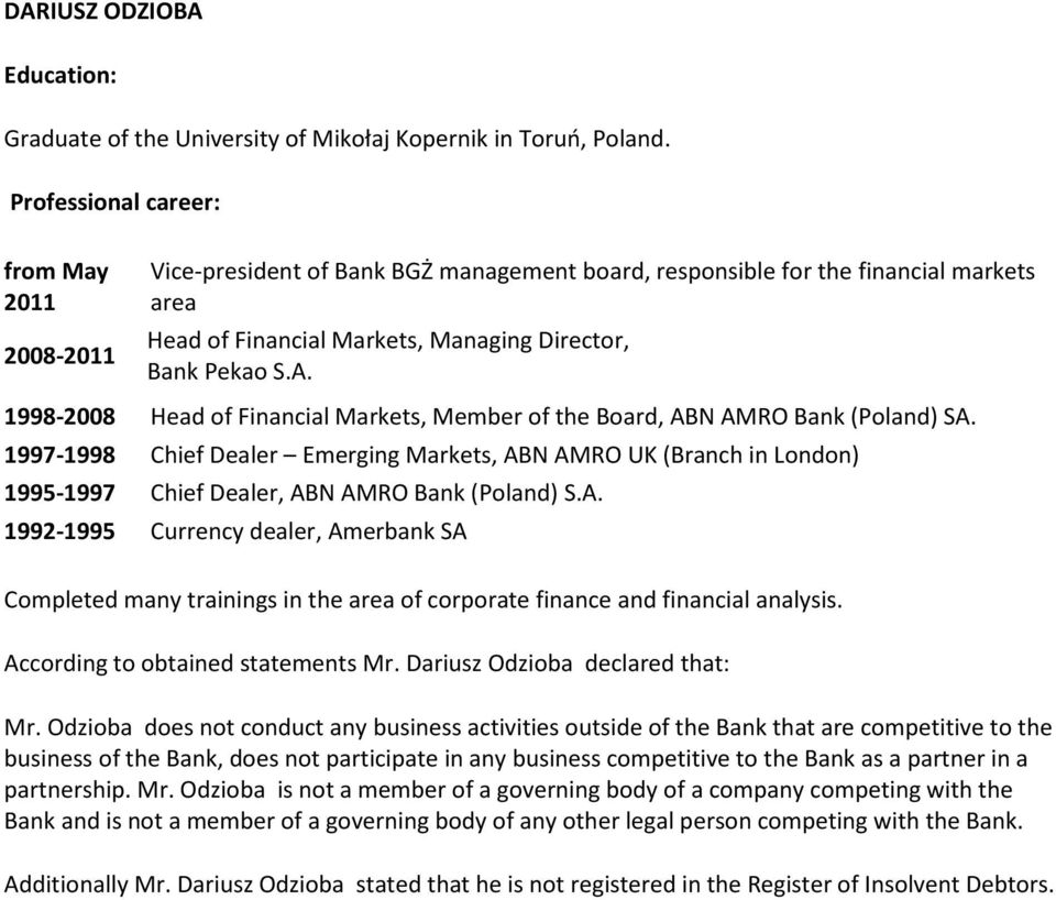 1998-2008 Head of Financial Markets, Member of the Board, ABN AMRO Bank (Poland) SA.