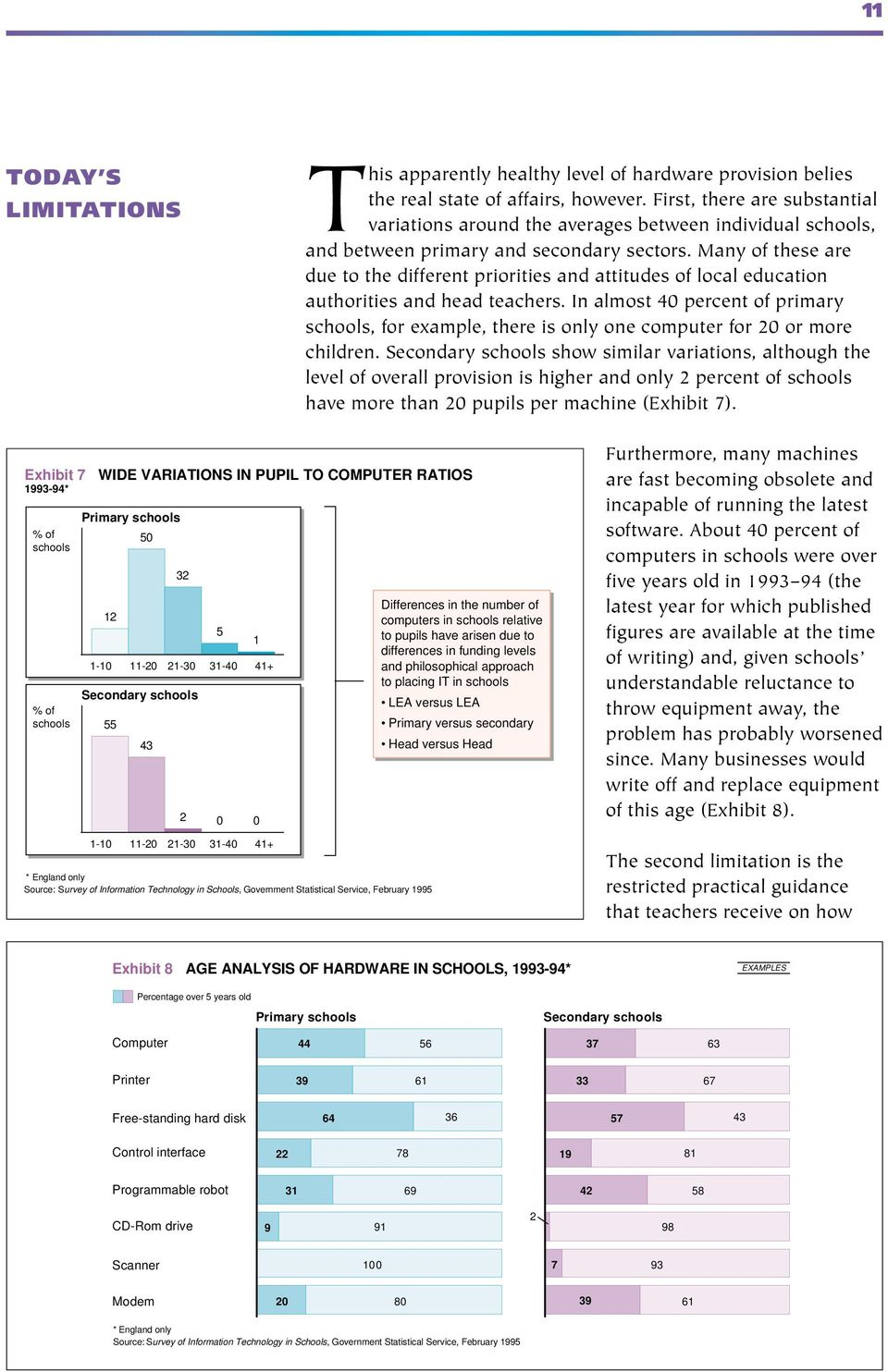 Many of these are due to the different priorities and attitudes of local education authorities and head teachers.