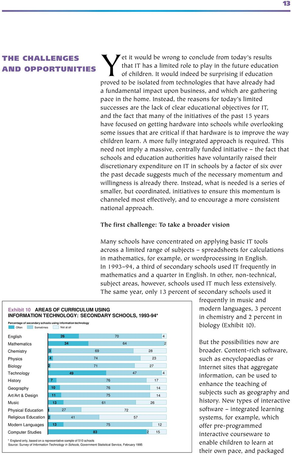Instead, the reasons for today s limited successes are the lack of clear educational objectives for IT, and the fact that many of the initiatives of the past 15 years have focused on getting hardware